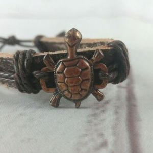 Jewelry - Leather Cuff With Turtle Charm